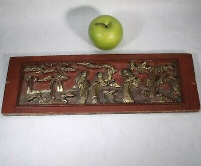 ANTIQUE c1890 CHINESE CARVED WOOD RED LACQUER PANEL from an OPIUM DEN