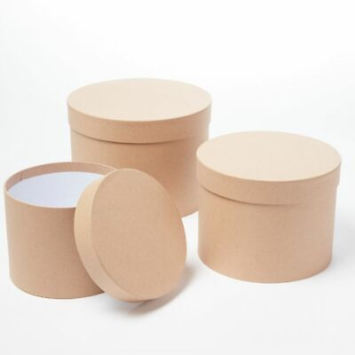 SET OF 3 ROUND OASIS SYMPHONY LINED HAT BOXES NATURAL KRAFT Flowers Gifts Crafts