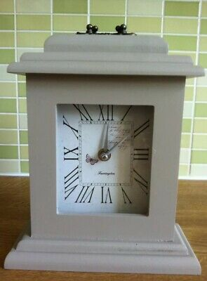 Wooden Vintage Grey/Taupe Mantle Clock Fireplace Standing Wood Butterfly Mantle
