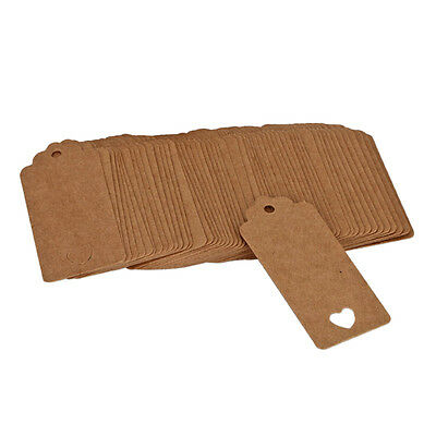 100pcs Blank Kraft Paper Hang Tags Wedding Party Favor Label Price Gift CardFO!