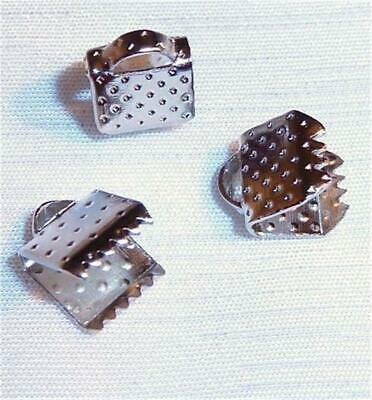 F478...PACK OF APPROX. 50 RHODIUM PLATED CRIMPS - 6mm WIDE