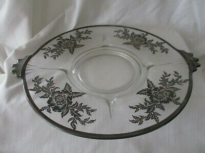 Sterling silver inlaid glass footed cake plate flowers silver city flanders