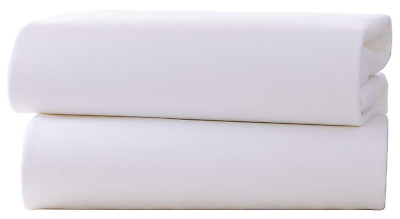 Clair de Lune Cot Bed Cotton Jersey Flat Sheets Pack of 2, White
