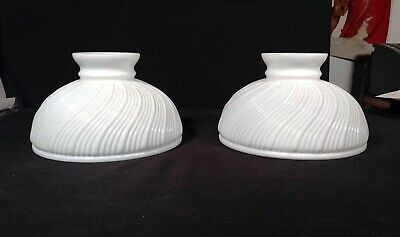 ANTIQUE Pair of White Milk Glass Lamp Shades FOR DOUBLE STUDENT LAMP
