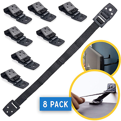 TV and Furniture Anchors for Baby Proofing: Anti Tip Wall Safety Straps - Black