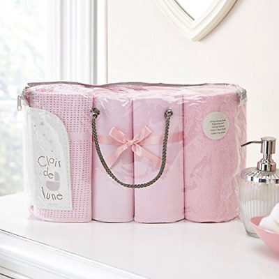 Clair de Lune Moses Basket Sheets Bedding Bale Gift Set, Pink, 4 Piece