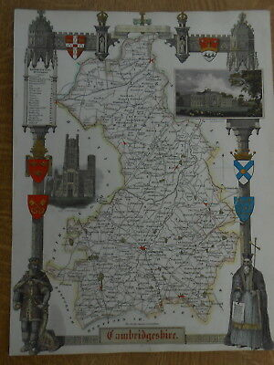 Moule County Map Cambridgeshire 1840 Hand Coloured Ely Cathedral Wimpole House