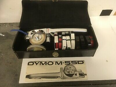 Dymo Vintage M 55 D metal labelling  machine Leather case 10 tapes.