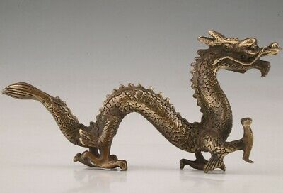 Rare Chinese Bronze Unique Hand-Carved Dragon Statue Old Collection