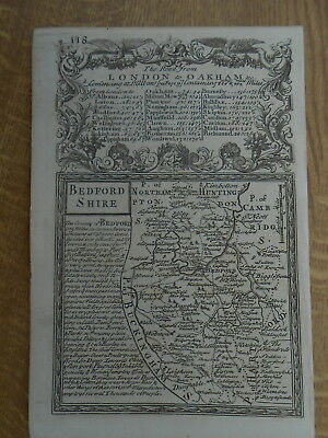 Bedfordshire Owen Bowen County Map C1720 From Britannia Depicta Uncoloured