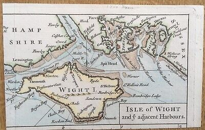 Antique Map Isle Of Wight And Ye Adjacent Harbours C1747 Rw Seale Rapins History