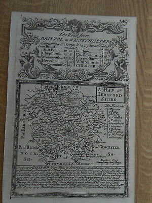Herefordshire Owen Bowen County Map C1720 From Britannia Depicta Uncoloured