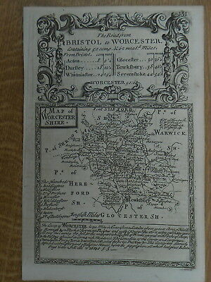 Worcestershire Owen Bowen County Map C1720 From Britannia Depicta Uncoloured