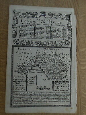 Glamorganshire Owen Bowen County Map C1720 From Britannia Depicta Uncoloured