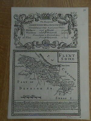 Flintshire Owen Bowen County Map C1720 From Britannia Depicta Uncoloured