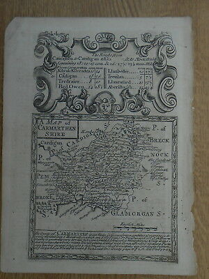 Carmarthenshire Owen Bowen County Map C1720 From Britannia Depicta Uncolored