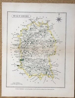 Antique Map Wiltshire C1860 Collins The Travelling Atlas Of England & Wales Orr