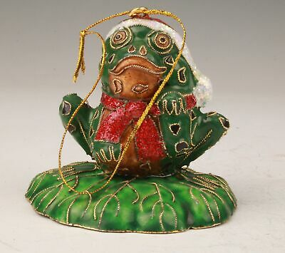 Rare Chinese Cloisonne Hand-Carved Frog Statue Pendant Good Luck Gift Collection
