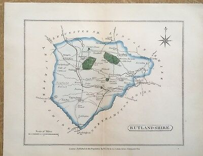 Antique Map Rutlandshire C1860 Collins The Travelling Atlas Of England And Wales