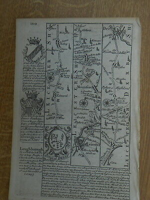 Leicester Loughborough Derby Northampton Owen Bowen Map C1720 Britannia Depicta