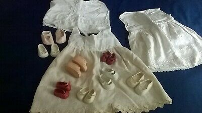 Various Vintage  Childs /Dolls Clothes And 8 Pairs Of Shoes