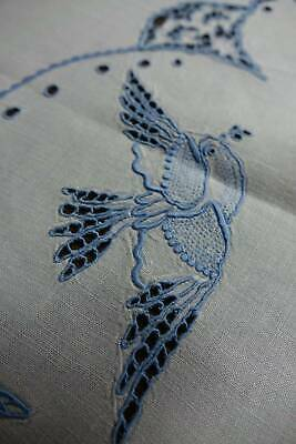 Vintage large Irish linen tablecloth with hand embroidery BlueBirds and florals.