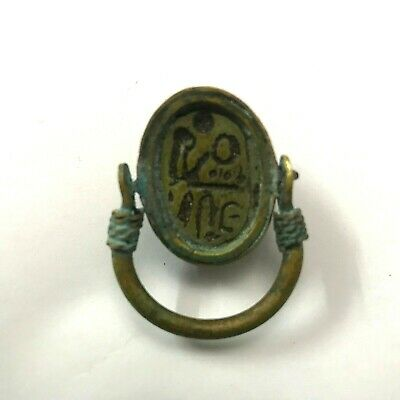 ANCIENT EGYPT ANTIQUE Egyptian copper ring with stone scarab c (300-1500)BC