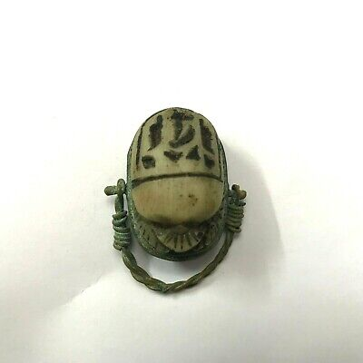 ANCIENT EGYPT ANTIQUE Egyptian copper ring with stone scarab d (300-1500)BC