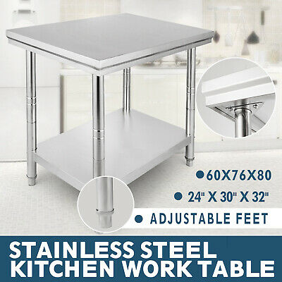 VEVOR Commercial Stainless Steel Work Bench Kitchen Catering Table Worktop