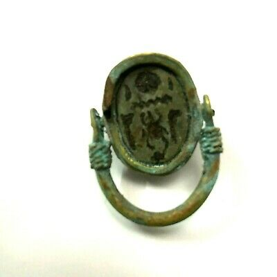 ANCIENT EGYPT ANTIQUE Egyptian copper ring with stone scarab f (300-1500)BC