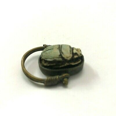 ANCIENT EGYPT ANTIQUE Egyptian copper ring with stone scarab g (300-1500)BC