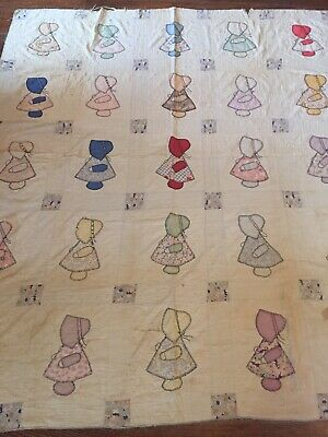 """Antique Hand Quilted Sunbonnet Sue Handmade Embroidered Applique Quilt 84"""" X 72"""""""