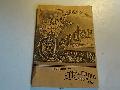 1893 April - Sept Calendar ET Hazeltine Warren PA Piso's Cure Remedy Consumption