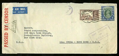 1941 censored / not-censored airmail cover mailed India to USA via Hong Kong