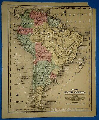 Vintage 1853 SOUTH AMERICA PATAGONIA PERU MAP Old Antique Original Hand Colored