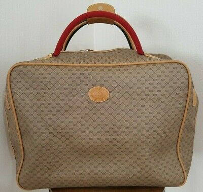 Authentic Vtg Rare Gucci Web Coated Canvas Overnight Travel Bag Suitcase Luggage