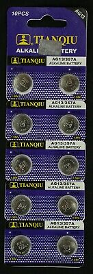 10 AG13 LR44 357 157 303 A76 LR154 L1154 1.5V Alkaline Battery Exp 2021 USA Ship