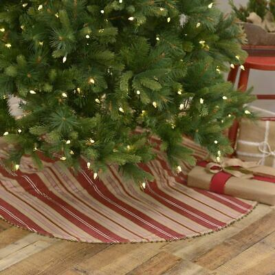 Vintage French Country Farmhouse Primitive Rustic Stripe Christmas Tree Skirt 48