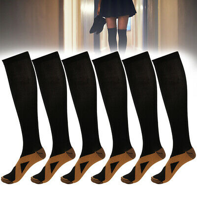 3/6 Pairs Copper Compression Socks 20-30mmHg Graduated Support Men Women S-XXL