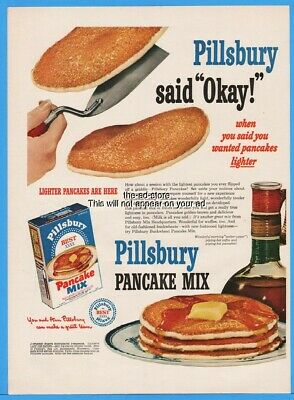 1951 Pillsbury Pancake Mix Breakfast Food Vintage Kitchen Decor Print Ad