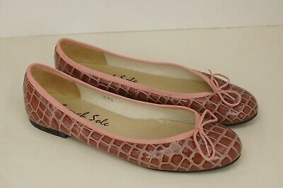 5647bafa3834f FS/NY FRENCH SOLE HENRIETTA PINK Croco Embossed Shoes Size 11 41.5 Ballet  Flats