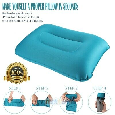Travel Pillow Foldable Inflatable Neck Support Car Airplane Air Cushion BLUE USA