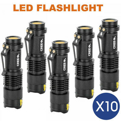 10x Mini CREE Q5 LED Flashlight Torch Adjustable Focus Zoom Light Lamp 1200LM AU