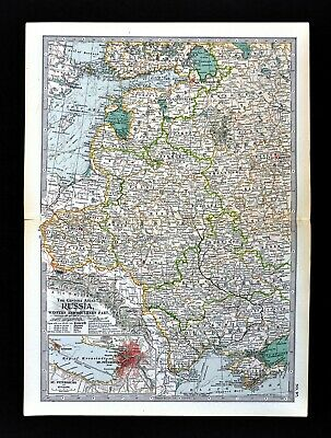 1902 Century Map Russia Europe St. Petersburg Moscow Poland Estonia Lithuania