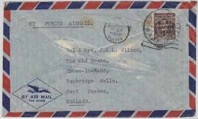 "Japan - Brit. Besetzung BCOF Luftpostbrief ""By Forces Airmail"" n. England 1948"