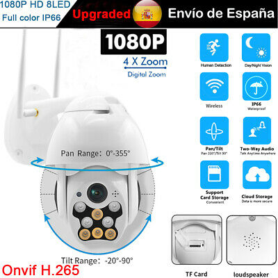 1080P HD Wifi IP Cámara CCTV Seguridad hogar Vigilancia Exterior 8 LED IR Webcam