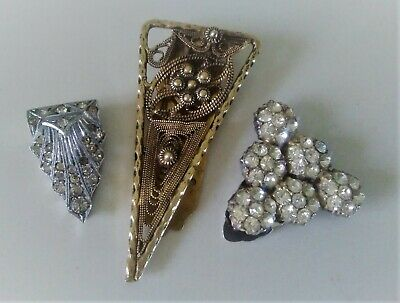 3 Vintage Art Deco Dress Clips  2 sterling silver paste set,  1 brass filigree