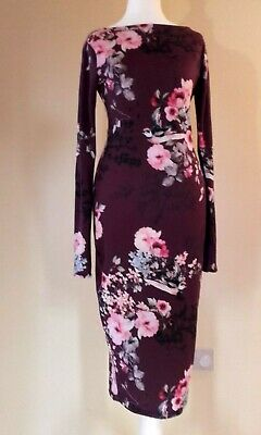 Ladies Women Asos Burgundy Floral Open Back Long Sleeves Pencil Midi Dress Size6