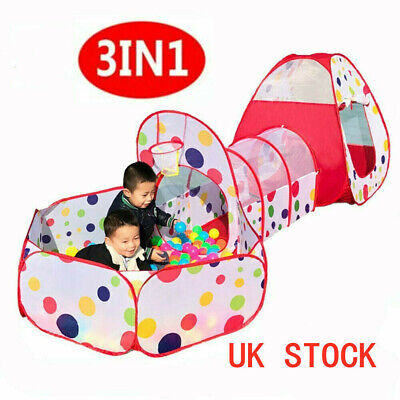 3 in 1 Pop Up Portable Children Kids Baby Play Tent Tunnel Ball Pit Playhouse UK