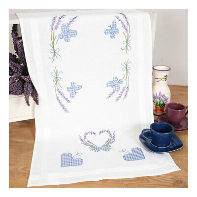 Embroidery Kit Runner Lavender & Butterfly Design on Cotton Fabric 40x100cm